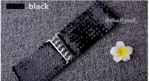 3 Colours Ladies Womens Fashion Sequins Elastic Stretch Shiny Waist Band Belt