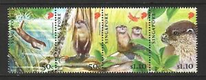 SINGAPORE-2011-ENDANGERED-ANIMALS-ORIENTAL-SMALL-CLAWED-OTTER-SET-4-STAMPS-MINT