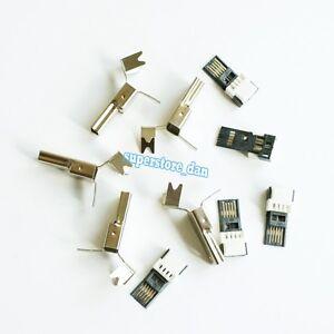 5Pcs-Mini-USB-5-Pin-Male-2-Piece-NO-Solder-Connector-Plug-Metal-Cover-Adapter