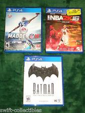 PS4 GAME LOT MADDEN 16 NBA 2K16 BATMAN TELLTALE SERIES BASKETBALL FOOTBALL FUN