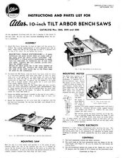 "1951 Atlas  No. 3060, 3070 and 3080 10"" Tilt Arbor Table Saw  Instructions"