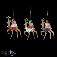 Gisela Graham New Festive Wooden Reindeer Hanging Christmas Tree Decoration Gift