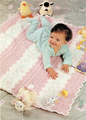 PRETTY Star & Afghan Stitch Baby Afghan/Crochet Pattern INSTRUCTIONS ONLY