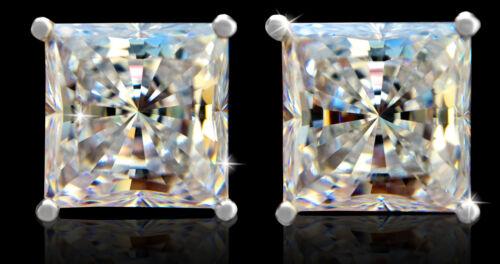 2 CT TW brillant princesse Boucles d/'oreilles Top AAAA Zircone Cubique MOISSANITE Simulateur solid sterling silver