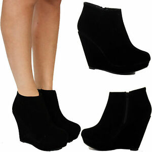 WOMENS LADIES BLACK SUEDE MID HIGH HEEL ANKLE PLATFORM WEDGE BOOTS ...
