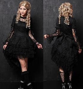 Gothic-Lolita-GLP-Kleid-schwarz-langarm-Spitze-asymmetrisch-Fasching ...