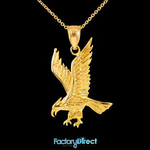 Solid gold eagle pendant necklace bird hawk flying duck ebay image is loading solid gold eagle pendant necklace bird hawk flying aloadofball Choice Image