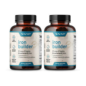 Natural Blood Builder Iron Supplements 21mg Iron Pills Increase Energy - 2 Pack