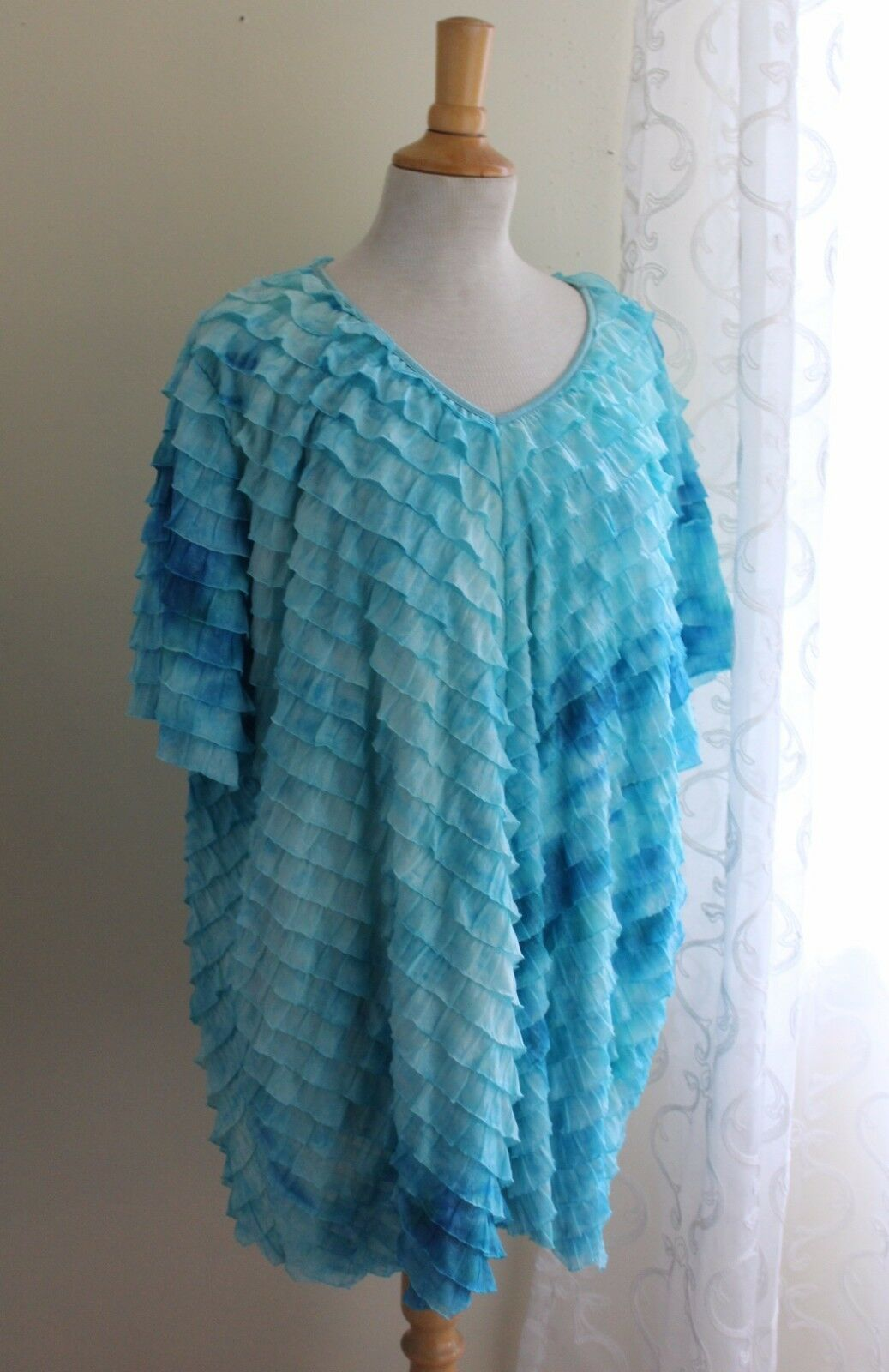 Notations -Sz 3X Funky Crinkled Art-to-Wear Ruffled Fluttering Turquoise Top