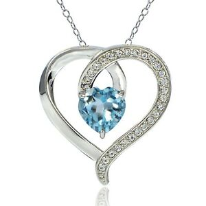 Sterling-Silver-2-4ct-TGW-Blue-Topaz-amp-White-Topaz-Heart-Necklace