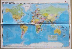 Die Welt Karte.Details Zu Die Weltkarte Physisch Und Politisch Landkarte Der Welt 59 Cm Mal 41 Cm