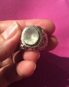 .925 Genuine Sterling Silver Ring Jewelry Unisex Size 7.5 With Lab Moonstone