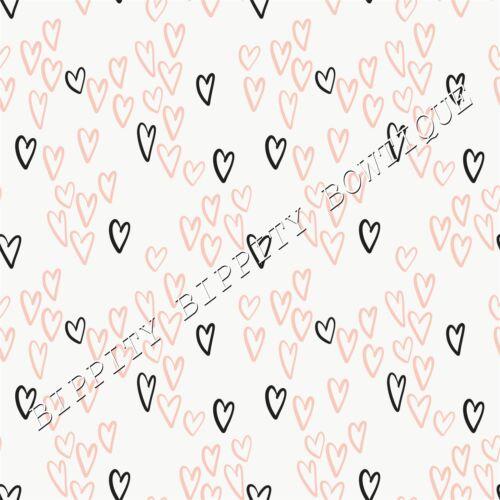 """Magnifique /""""Sweetheart/"""" Noir /& Blush Toile Imprimé Tissu Feuille.. cheveux arcs,"""