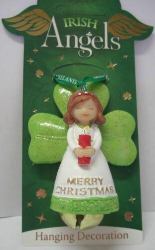 IRELAND IRISH ANGELS GREEN GLITTER MERRY CHRISTMAS HANGING DECORATION WITH BELL