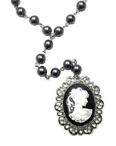 Silver-Grey-Pearl-Cameo-Necklace-Gothic-Victorian-Antique-Vintage-Style-Pendant