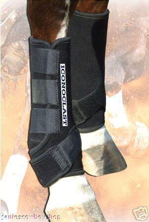 botas Negras iconoclasta rehabilitación  Deportes Equine botas Equino Soporte Férula LG rehabilitación  Esperando por ti