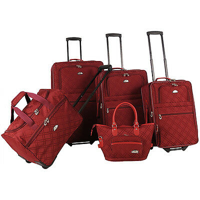 American Flyer Pemberly 5 Piece Buckles Set 5 Colors Luggage Set NEW
