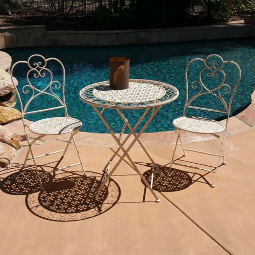 2 CHAIRS NEW TABLE 3 PIECE MARSEILLE ANTIQUED HEAVY IRON FOLDING BISTRO SET