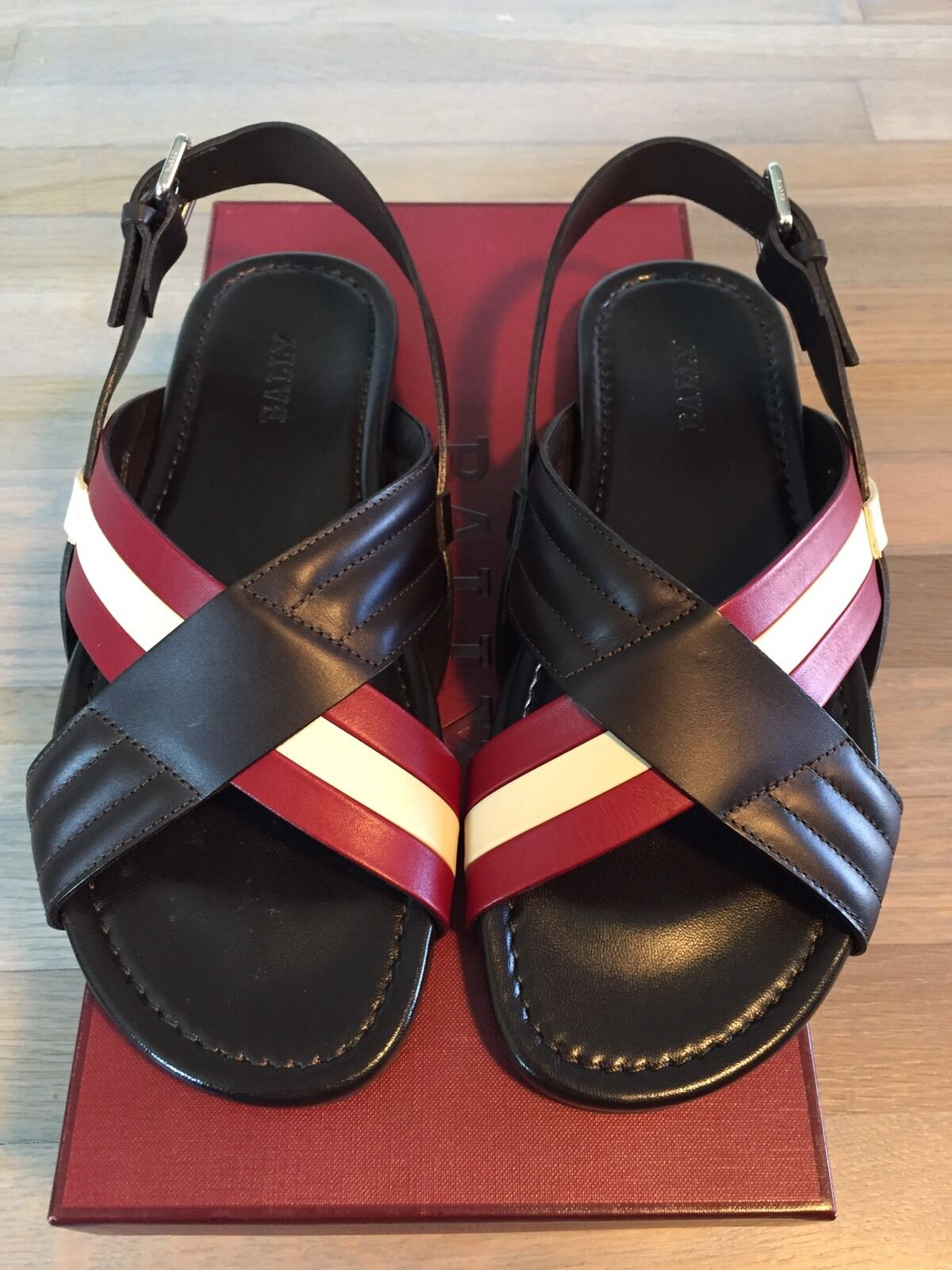 525  Bally Verlon Brown Leather Leather Leather Sandals size US 12.5 Made in  24ac84