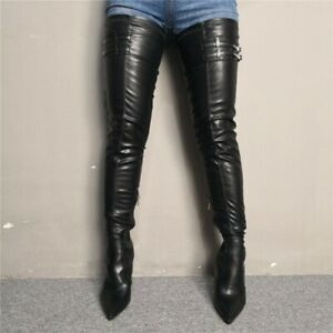 Sexy-Women-Overknee-High-Thigh-Leg-Long-Boots-Pointy-Toe-Stilettos-Heel-Shoes-SZ