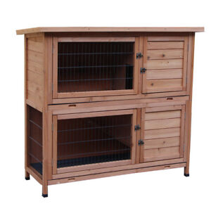 48-034-Wooden-Rabbit-Hutch-Chicken-Coop-Cage-Hen-House-Pet-Poultry-Animal-Backyard