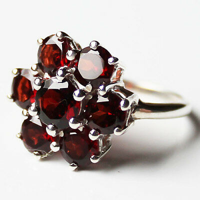 925 Solid Silver Chunky Faceted Semi-Precious Red Garnet Stone Ring - Size 8