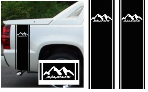 MATTE BLACK CHEVY AVALANCHE TRUCK BED SIDE STRIPES DECAL KIT CUSTOM SIZING