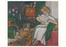 Kunstpostkarte Lesende Frau im roten Sessel August Macke