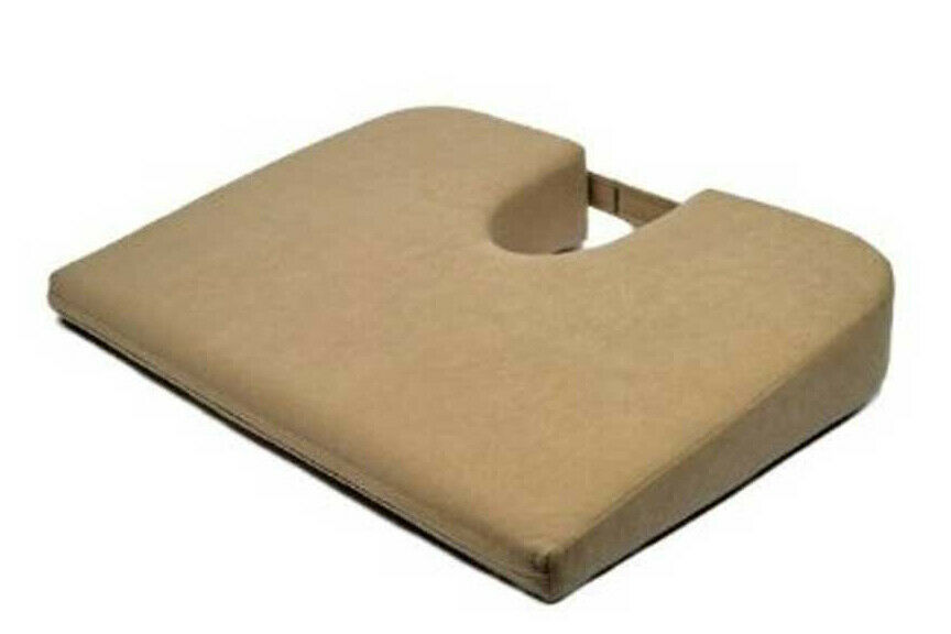 Original Tush Cush Ergonomic Seat Cushion Tan Velour Fabric 14x18 inches