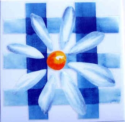 Blue Daisy Flower Permanent Rub on Transfers Decal Glass Tiles DT52