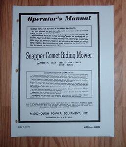 snapper comet 265x 265xs 268x 268xs 308x 308xs owners manual 06052 rh ebay ie jason comet 480 owner's manual 1963 mercury comet owners manual