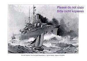 Panzerkreuzer F Kunstdruck 1907 Georg Martin Marine Segelboot Kriegsschiff +