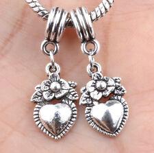 2P European Silver CZ Charm Beads Fit sterling 925 Necklace Bracelet Chain A#633