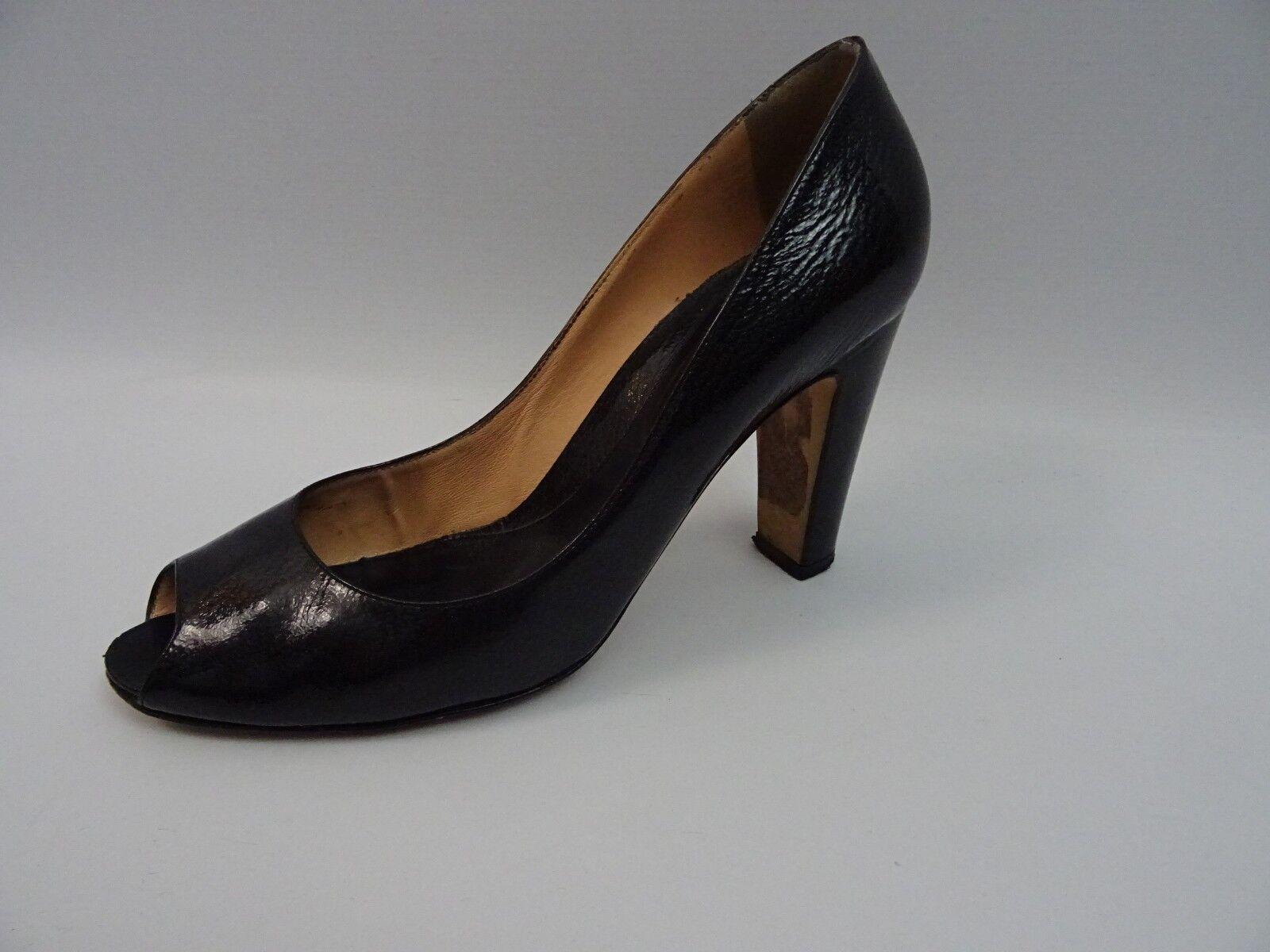 Sergio Rossi Damen Schuhe Pumps Peep Toes schuhe Schwarz Leder 40 Blockabsatz