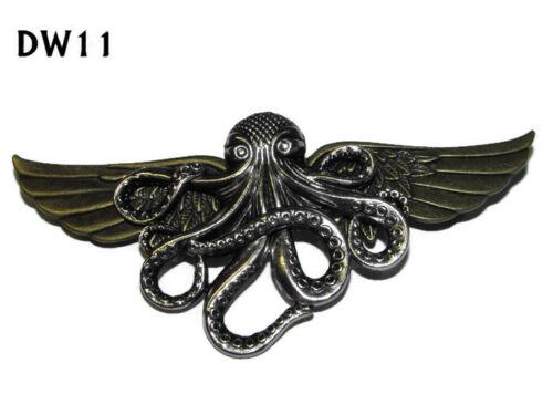 Steampunk Pin Insignia Broche bronce Alas Plata Kraken Pulpo Pirata #dw11