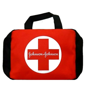 Johnson & Johnson 1st Aid First Aid Kit Zippered Red Carrying Emergency Bag NOS
