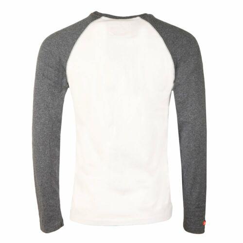 Superdry Long Sleeve Crew Neck T-Shirt Optic White 2XL 3XL Mens Baseball