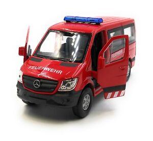 Maquette-de-Voiture-Mercedes-Benz-Pompier-Auto-Sprinter-Rouge-1-3-4-39-Licence