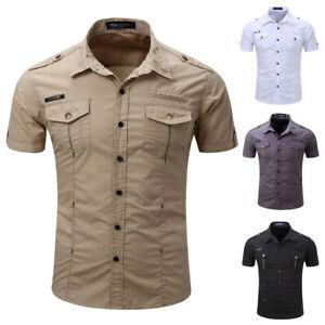 Fashion-Men-039-s-Summer-Casual-Dress-T-Shirt-Short-Sleeve-Shirt-Tops-Military-Style