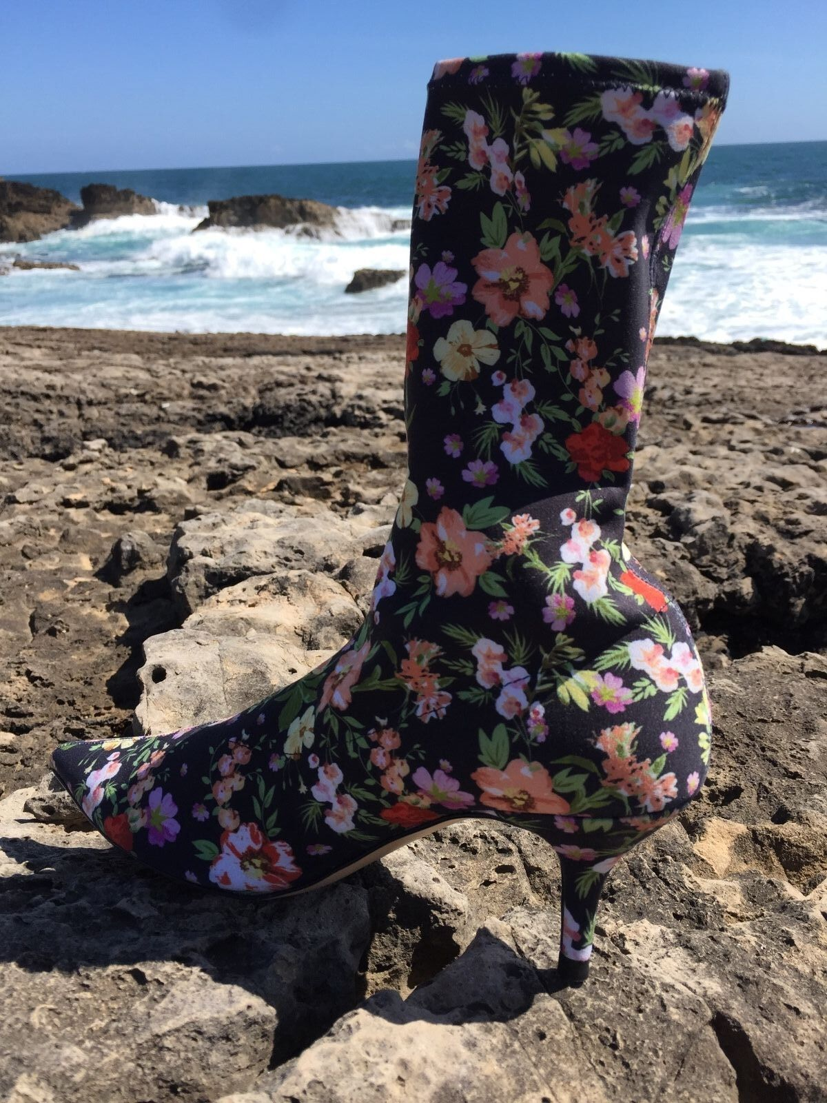 ZARA FLORAL FABRIC HIGH HEEL ANKLE BOOTS 1113/201
