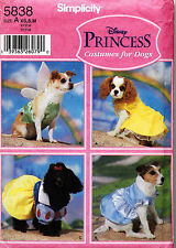 Simplicity Disney Princess Costumes for Dogs Pattern 5838 Size XS,S,M