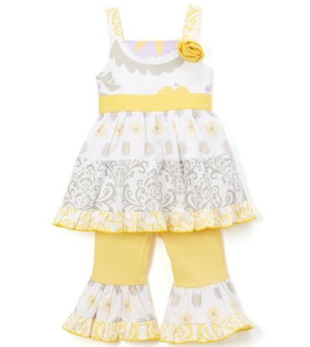 Girls ANN LOREN yellow swing top ruffle leggings outfit 18 24 months 2T NWT gray