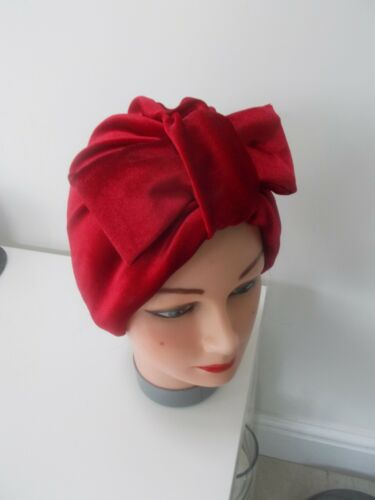 TURBAN red velvet bow VINTAGE LOOK 1940s 50s SWING HAT HEAD SCARF HAIR PIN UP