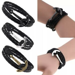 Image Is Loading Black Leather Hope Wrap Around Anchor Wristband Bracelet