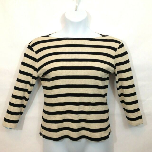 Talbots Knit Top Womens Sz Medium Black Tan Stripe Boat Neck 3/4 Sleeve Casual