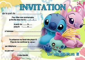 5 12 ou 14 cartes invitation anniversaire lilo et stitch ref 437