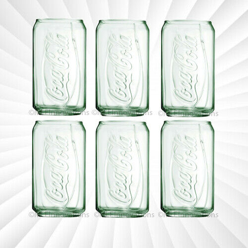 Coke Can Glass Genuine Coca-Cola Clear Green Drink Cup Vintage NEW 12 OZ Glasses