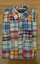 Polo Ralph Lauren L/S Madras Plaid Cotton Patchwork Shirt S VINTAGE