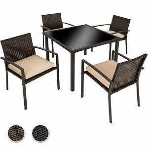 ensemble salon de jardin r sine tress e poly rotin ext rieur 4x chaises table ebay. Black Bedroom Furniture Sets. Home Design Ideas