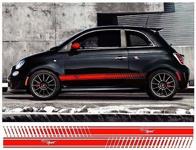 Fiat 500 Sport >> Pair Fiat 500 Sport Side Stripes Vinyl Decal Sidestripes Graphics Colour Choice Ebay